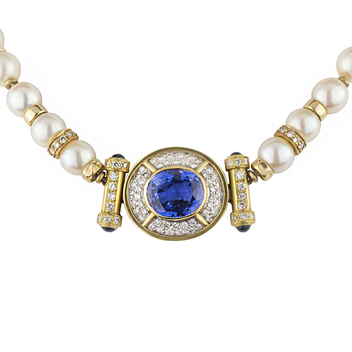 18k Yellow Gold Sapphire, Pearl & Diamond Choker?